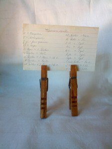 Recipe holder Clothespins