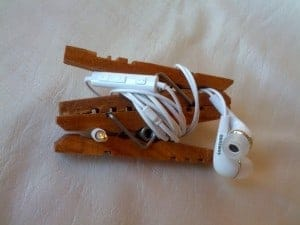 headset organizer clothespin