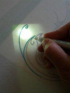 Transferring a pattern using a DIY light table