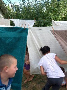 Clothesline and Kids playing