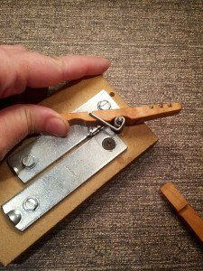 assembling wooden clothespin halves