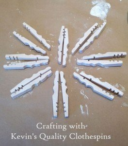 Painted Snowflake clothespin craft halves