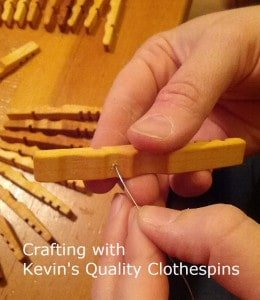 Stringing Clothespin Halves