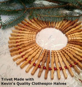 Clothespin Trivet with pine and label