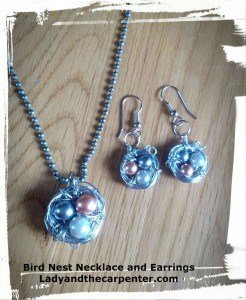 Bird Nest Necklace and Earrings