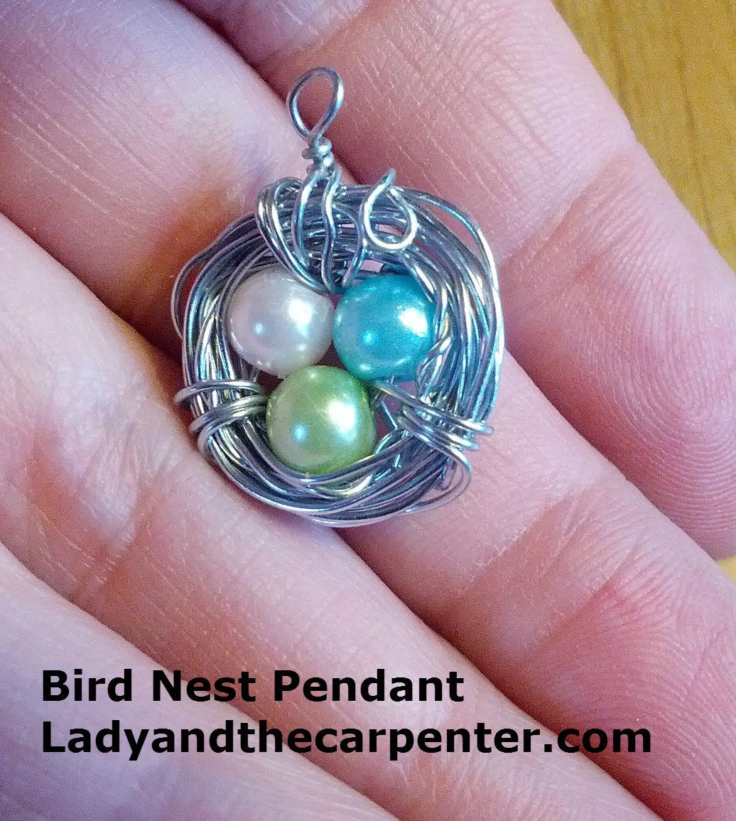 Bird nest necklaces frabjus lady and the screwy carpenter bird nest pendant aloadofball Choice Image