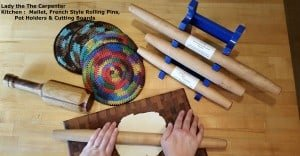 Potholders, mallets, French style Rolling Pins