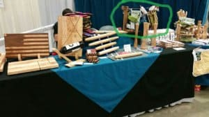 wooden clothespin display stand